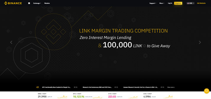 Binance Frontpage