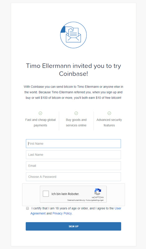 How to buy Ethereum on Coinbase - Signup