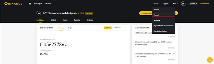Select Deposit on Binance Menu